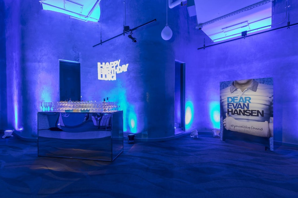 space lit glowing blue for Evan Hansen themed birthday party