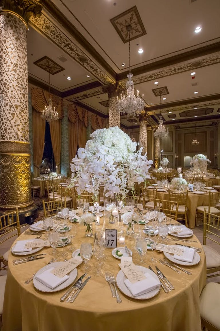White orchid wedding in grand ballroom