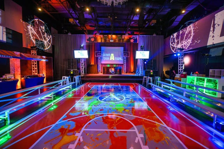 basket ball court style dance color with multicolored lighting