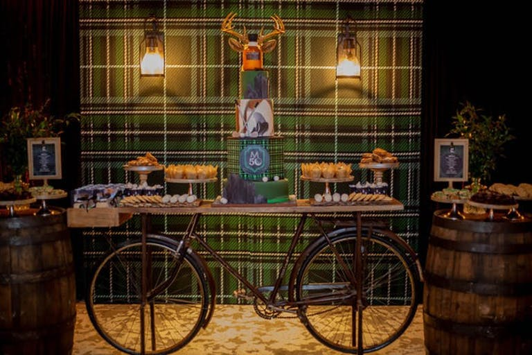Scottish Pub 50th Birthday Party Themes with Bicycle Dessert Station | PartySlate