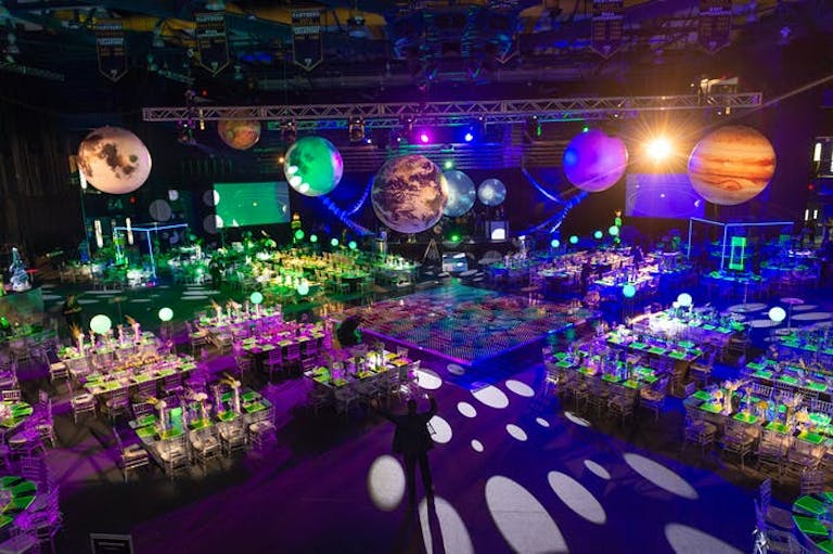 """""""Galactica"""" Gala Space-Themed Party With Planetary Décor Ceiling Installation 