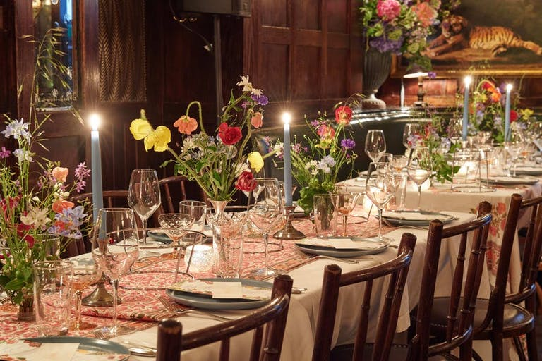Birthday Tablescape with Colorful Floral Centerpieces | PartySlate