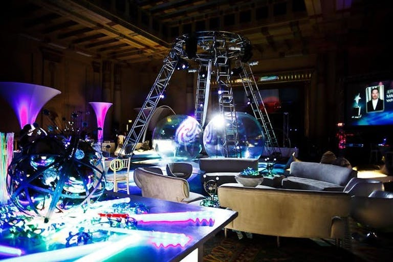 Futuristic Party With Neon Lighting, Whirlpool Projections, and Futuristic Furnishings | PartySlate