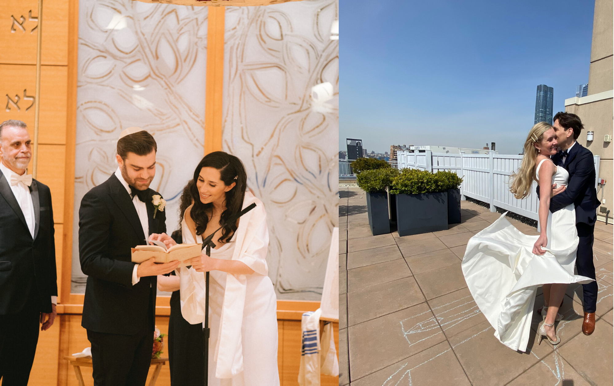 On the left, a bride and groom read from the Torah at their Temple. On the right, a bride and groom embrace on a rooftop. The sky is blue and the wind blows her white dress up slightly.