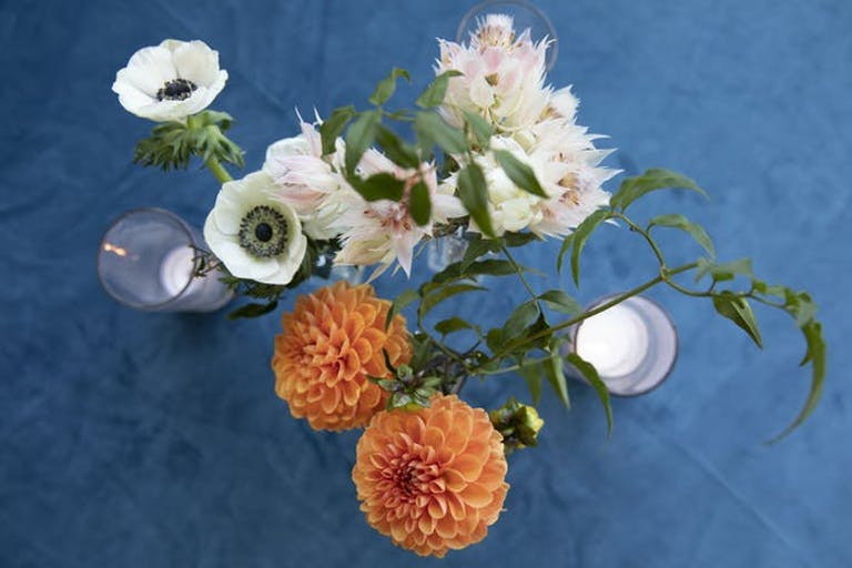 orange and white flowers from above with a blue linen