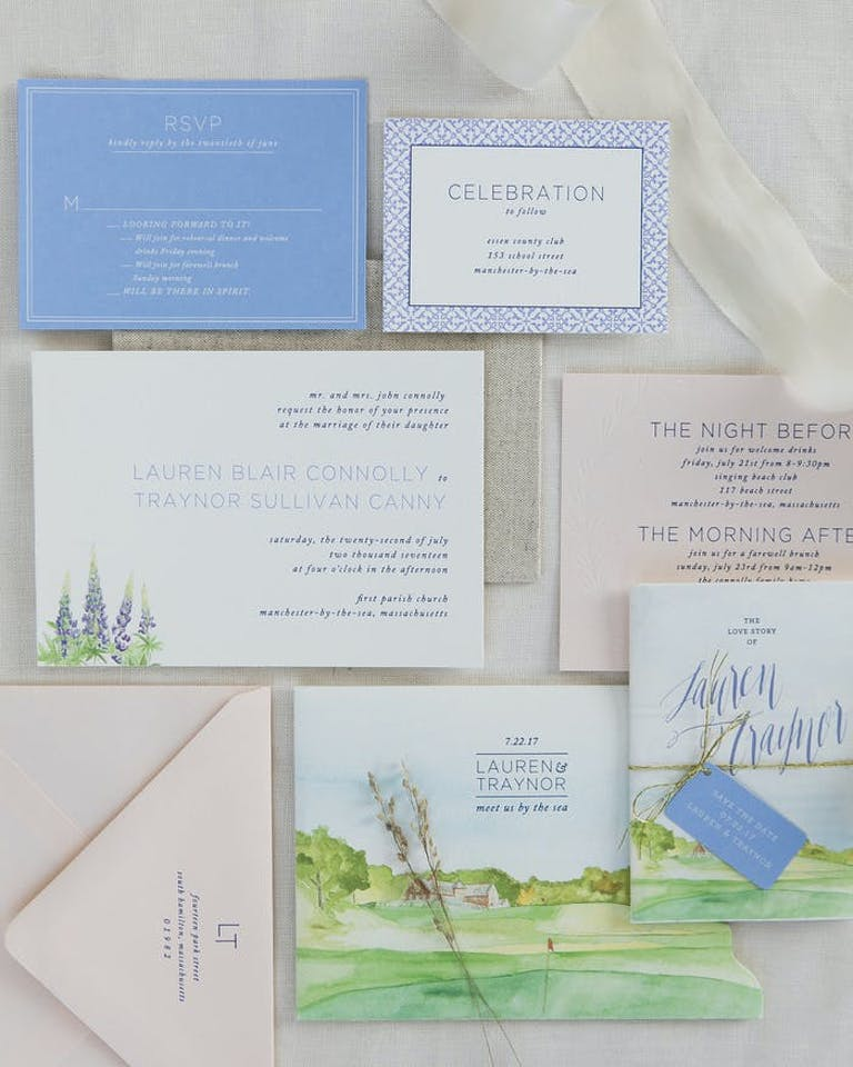 wedding invitations with white, blue and green accents