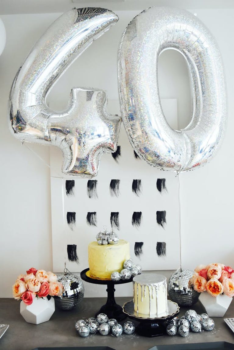 Silver Number Balloons and Disco Décor for 40th Birthday Party | PartySlate