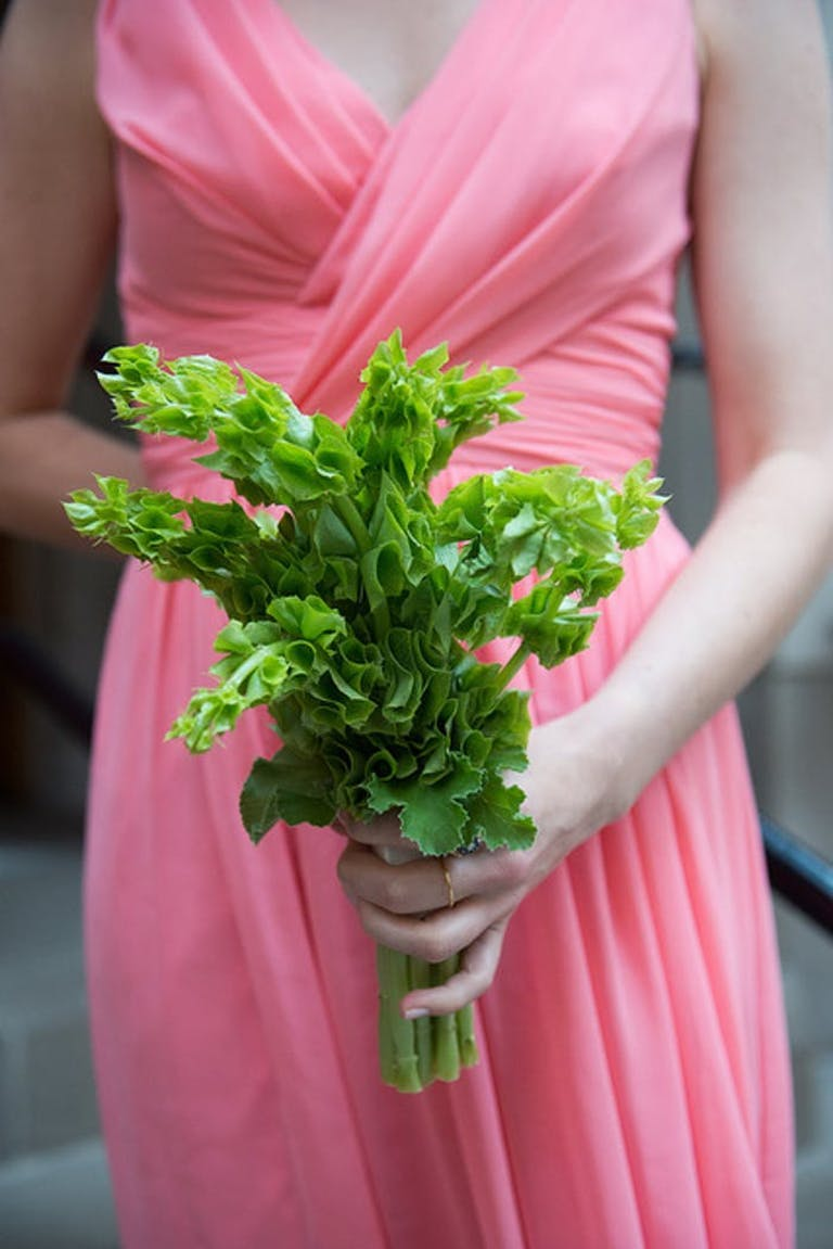 woman in a pink dress holding greenery