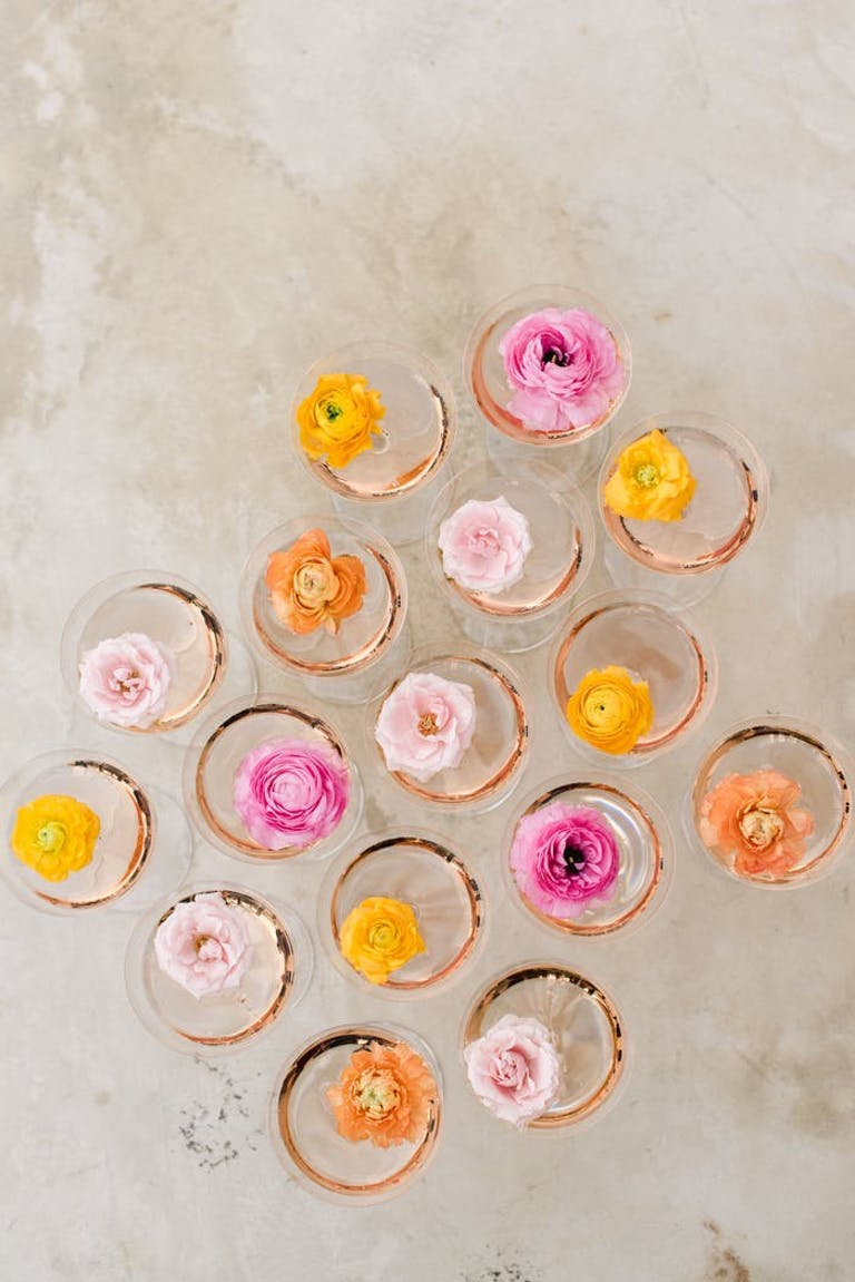 drinks from above with multicolored flowers