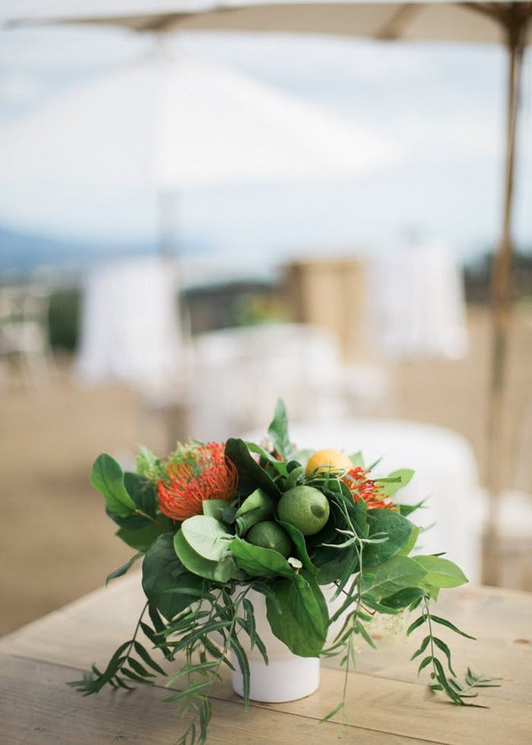 limes and greenery in a white pot on top of a light brown table
