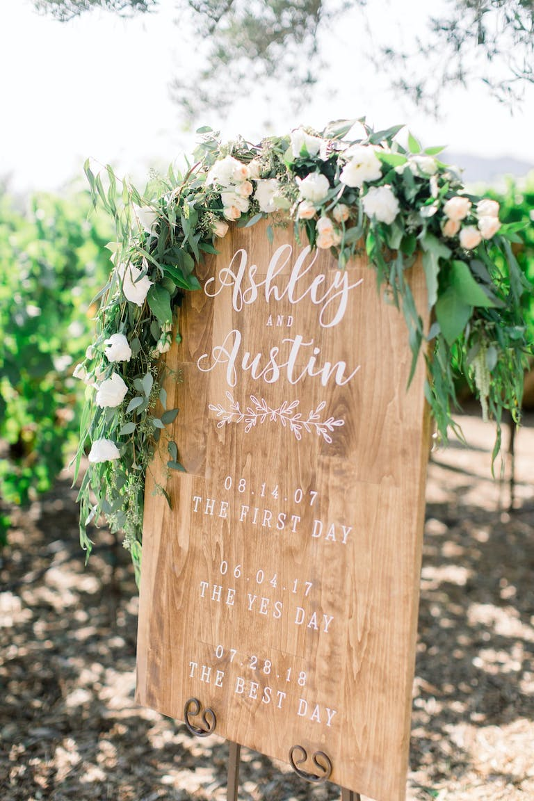 Rustic wedding signage with florals.