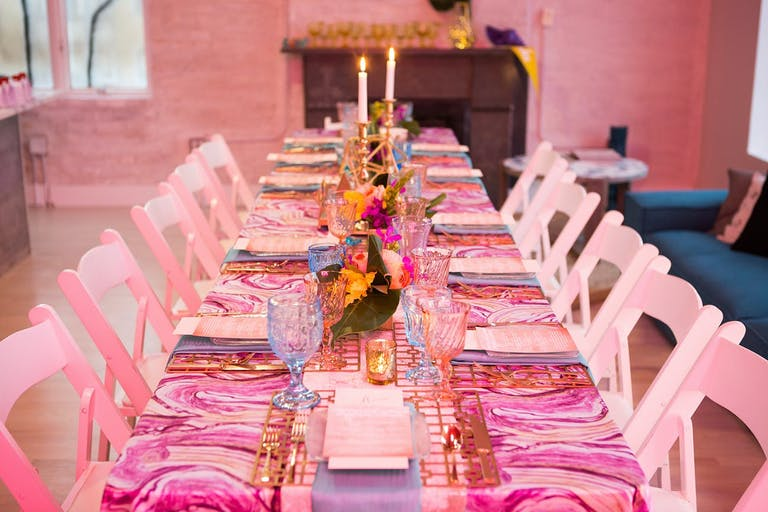 Pink corporate dinner party.