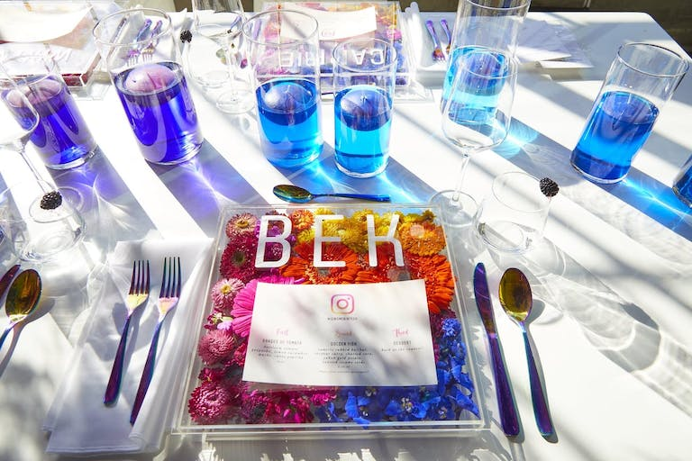 Instagram dinner party with colorful branding and table décor.