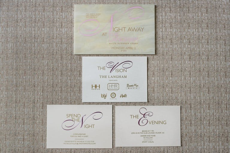 Iridescent corporate dinner party invitations.