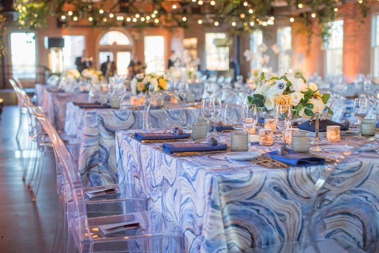 Corporate dinner party with funky table linen.