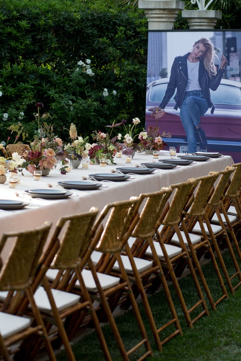Outdoor corporate dinner party for Hollywood influencers.