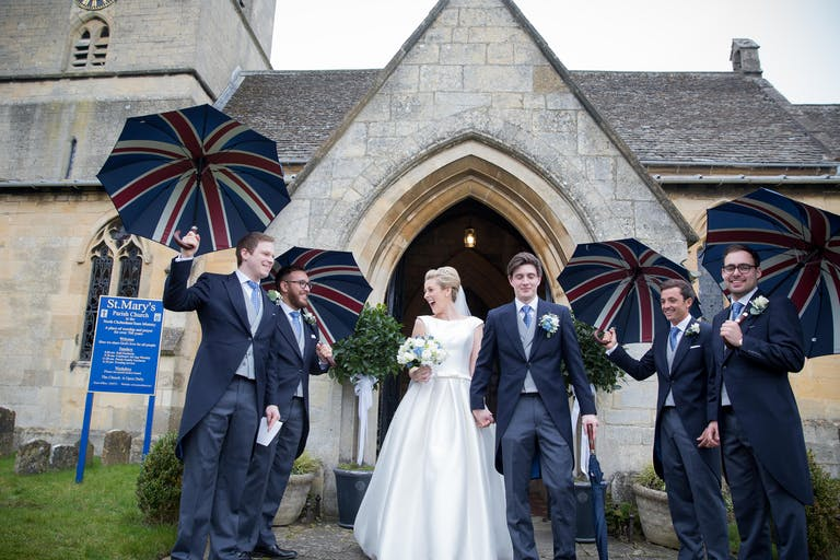 A Very English Wedding at Sudeley Castle in Winchcombe, UK With British-Style Umbrella Photo Op | PartySlate