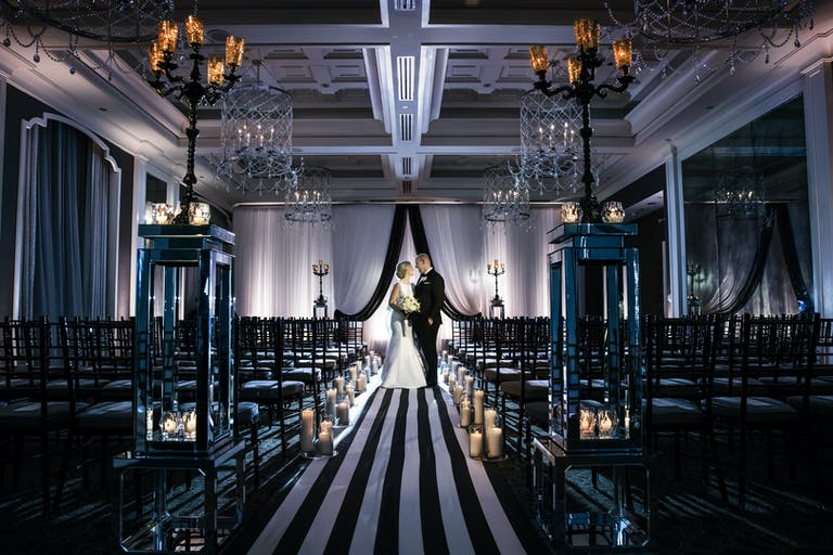 Unique Wedding Ceremony With Black and White Striped Aisle Runner | PartySlate