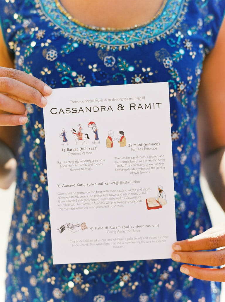 Unique Wedding Ceremony Program with Illustrations & Text | PartySlate