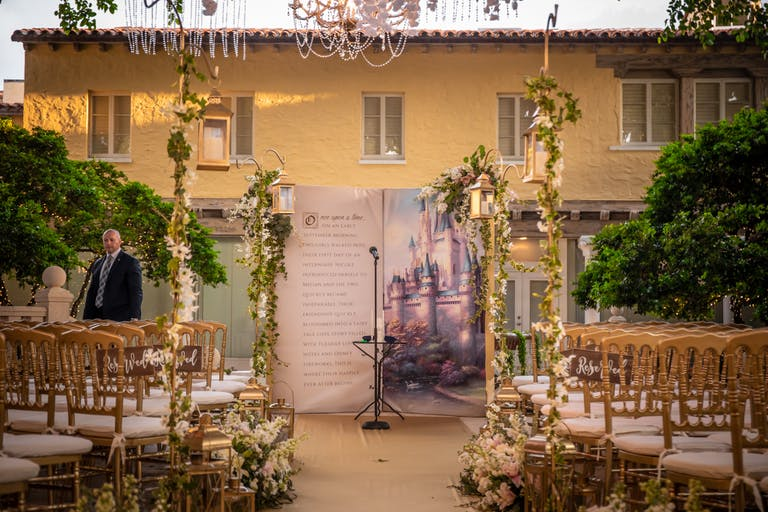 Enchanted Forest Themed Wedding at The Addison in Boca Raton, FL With Unique Book Ceremonial Backdrop | PartySlate