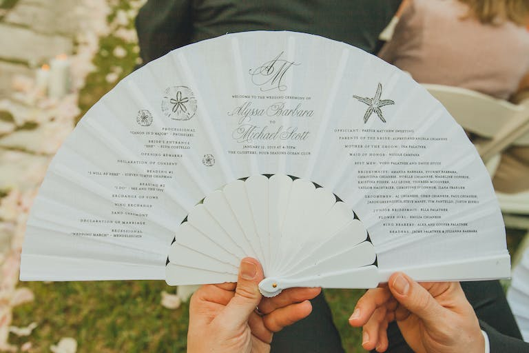Unique Wedding Ceremony Idea: Hand-Held Fan Wedding Program | PartySlate