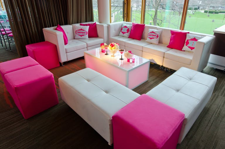 Karnival Pink Bat Mitzvah with luxe pink lounge area.