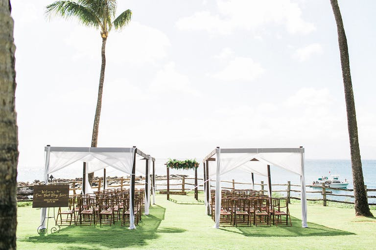 Outdoor Wedding Ceremony With White and Airy Canopy Coverings | PartySlate