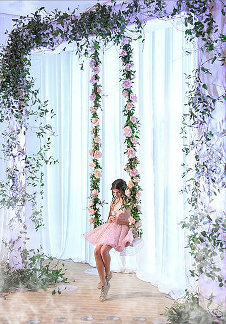 Pink floral swing at chic Bat Mitzvah party