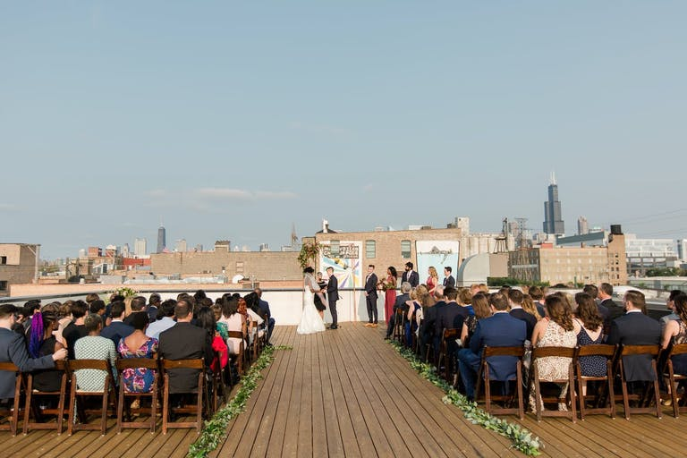 Chicago Rooftop Venue Wedding at Rooftop Deck at Ignite Glass Studios | PartySlate