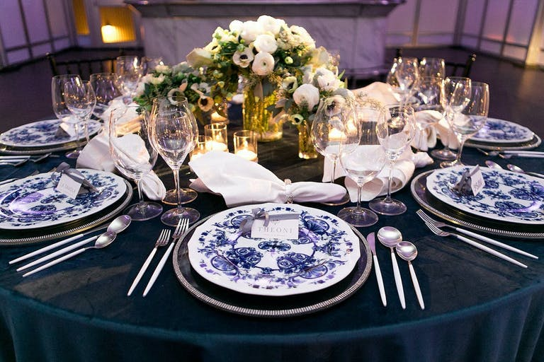 Corporate dinner party with mix and matched table décor.