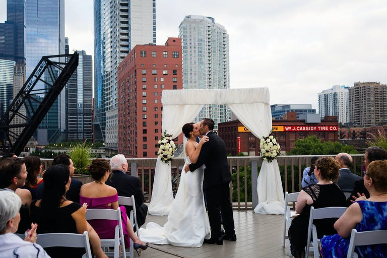 Rooftop Venue Chicago Wedding at Sun Deck at East Bank Club | PartySlate