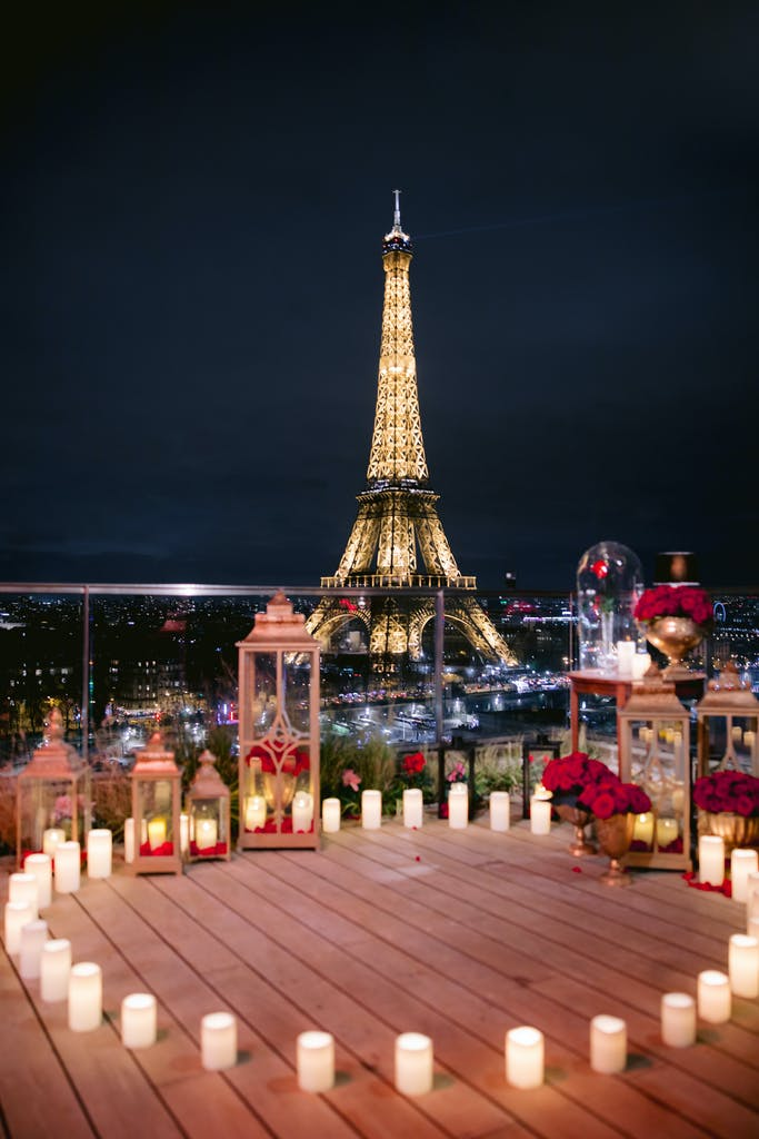 Romantic Eiffel Tower Proposal at the Shangrila Hotel in Paris, France