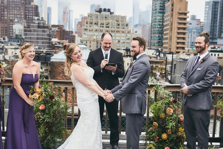 Soho Rooftop Wedding with City Backdrop for Arch | PartySlate