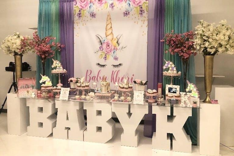 Baby shower dessert display.