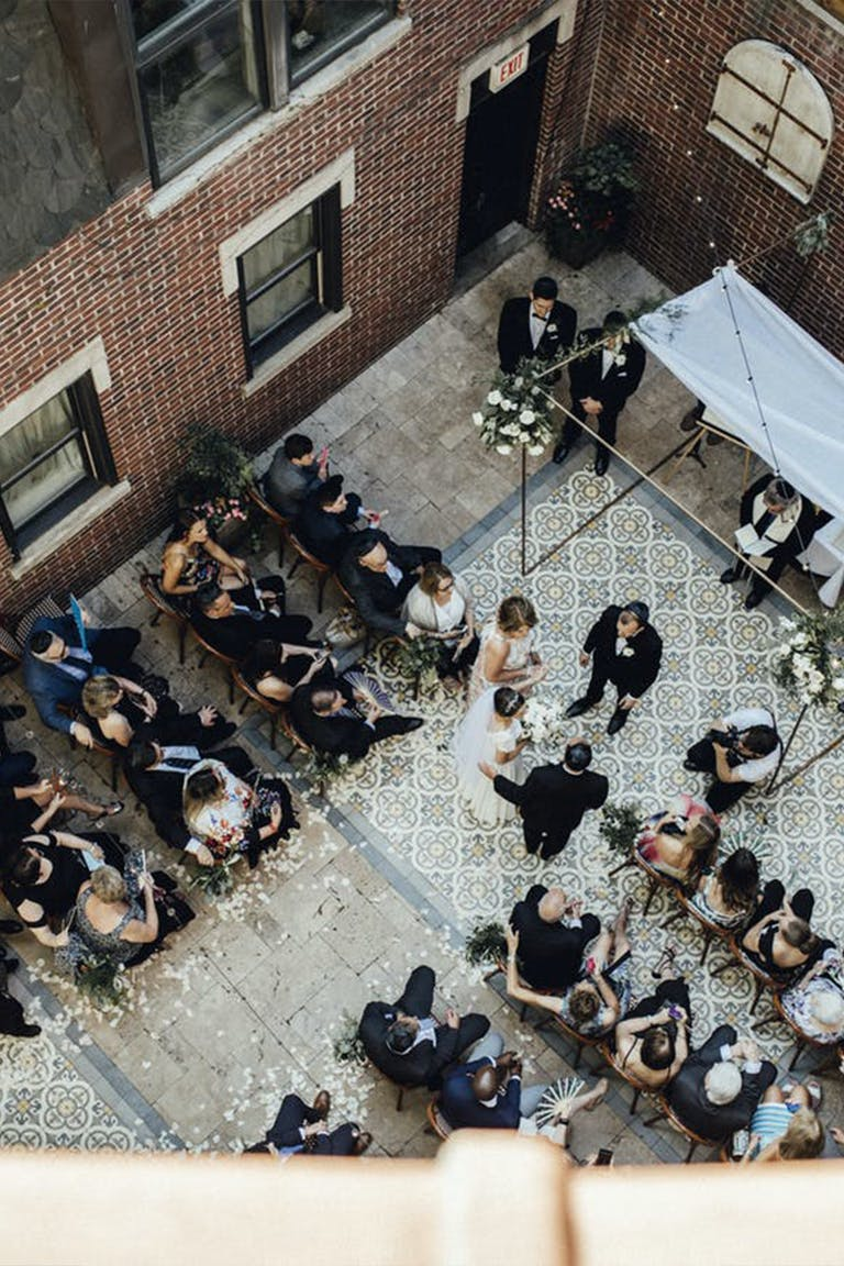Courtyard wedding at La Storia Ristorante in Chicago.