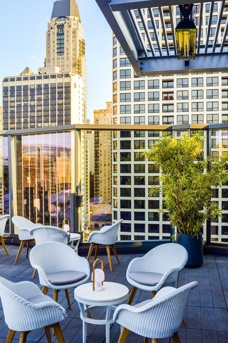 Rooftop terrace at Devereaux in Chicago.