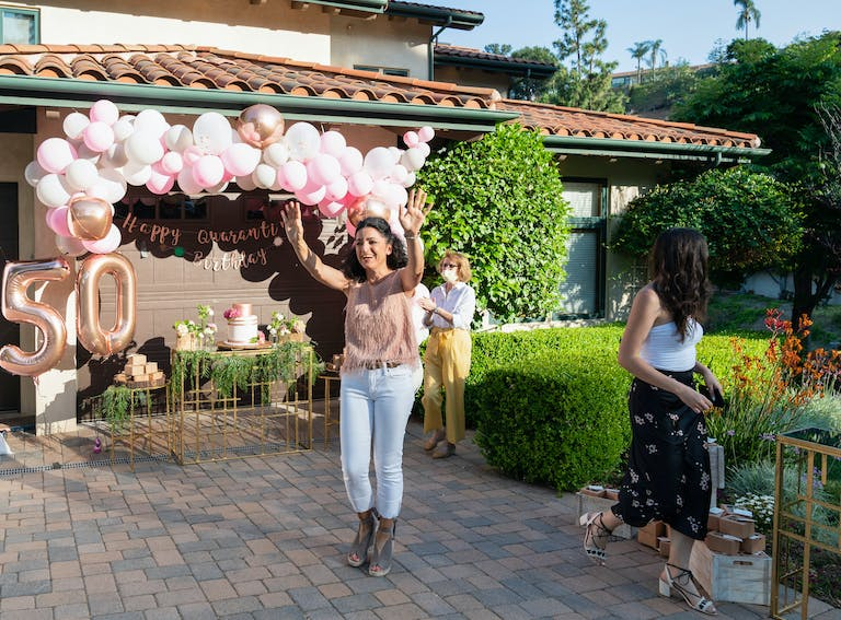 Pink and Green 50th Birthday Celebration in Los Angeles California