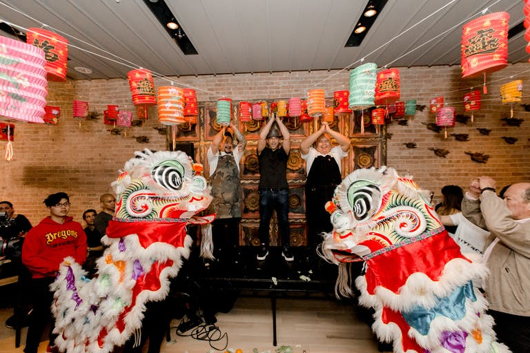 Sunda's 10 Year Anniversary Reception with dragons and Chinese lanterns | PartySlate