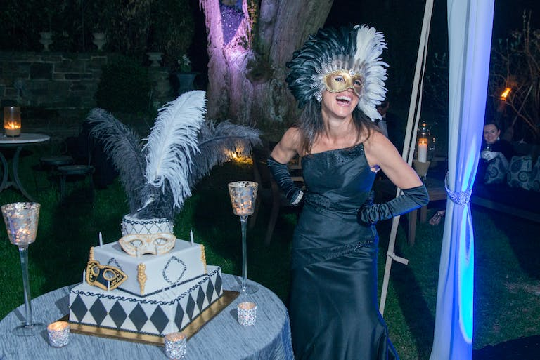Venetian masquerade- themed 50th Birthday Celebration at a private residence in Westchester, NY