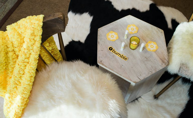 Aspen Winter Bumble brand party with honeycomb shape table   PartySlate