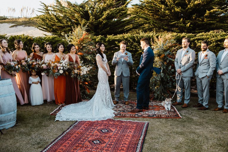 Boho Fall Wedding at Sancturary Beach Resort in Marina, CA With Creative Wedding Aisle Décor