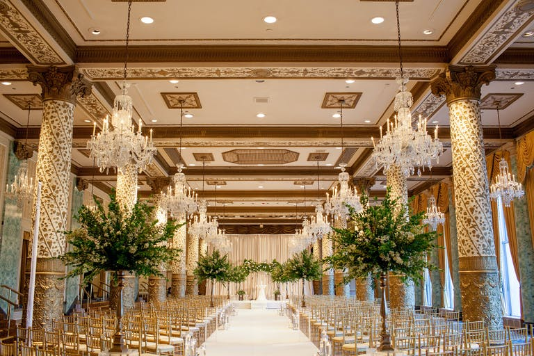 Captivating Romantic Wedding at The Drake Hotel in Chicago, IL With Greenery Wedding Aisle Décor