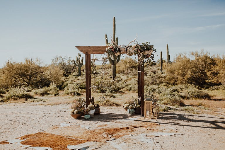 Desert Foothills Barn Wedding in Scottsdale, AZ With Creative Wedding Aisle Décor