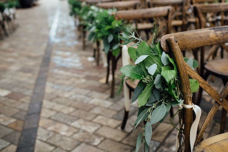 Gorgeous Romantic Wedding Ceremony in the Sculpture Garden in Chicago, IL With Greenery Wedding Aisle Décor