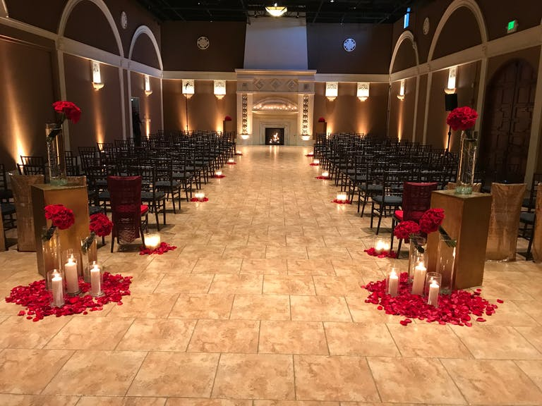 James Bond Inspired Wedding at Casa Real at Ruby Hill Winery in Pleasanton, CA With Candle-Lit Wedding Aisle Décor