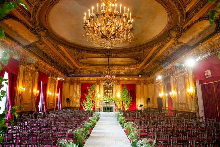Luxurious Exquisite Wedding at the Metropolitan Club in New York with Greenery Wedding Aisle Décor