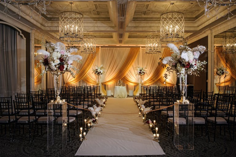 New Years Eve Wedding Celebration With Creative Wedding Aisle Decorations