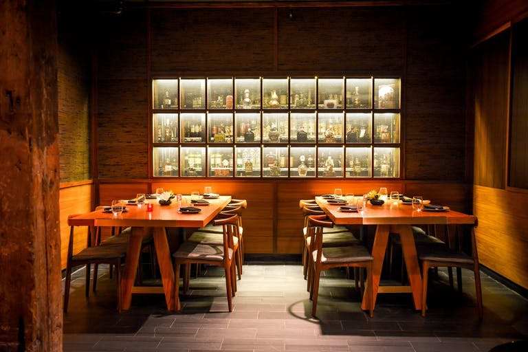 Momotaro private dining room in Chicago with modern Japanese tables and art | PartySlate
