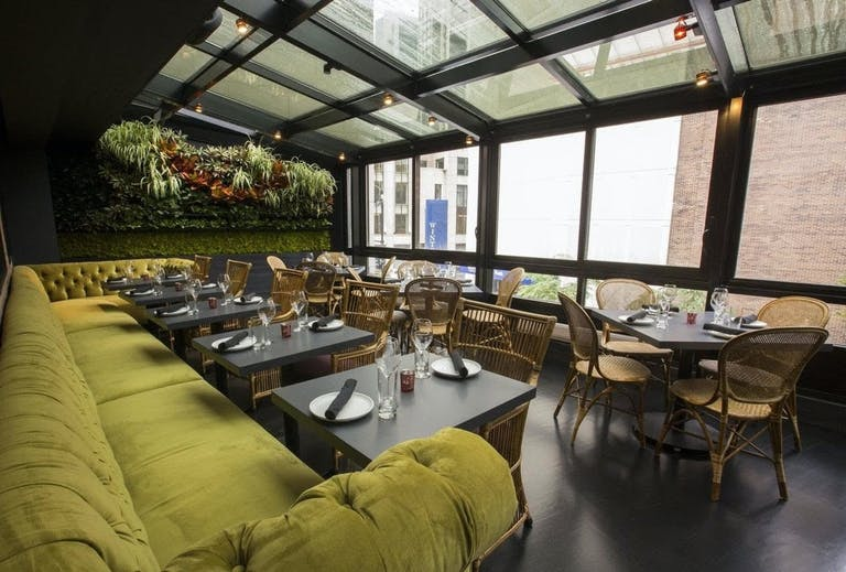 Atrium at Stockton Restaurant and Lounge with Chicago city view | PartySlate