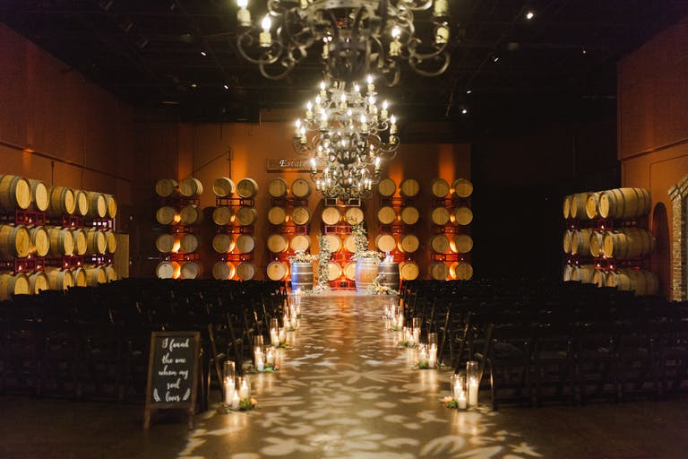 Rustic Indoor Wedding at Palm Event Center With Creative Lighting Wedding Aisle Décor